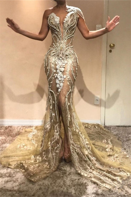 Beautiful Fitted One Shoulder Beading Appliques Front Split Exclusive Prom Dresses UK | New Styles