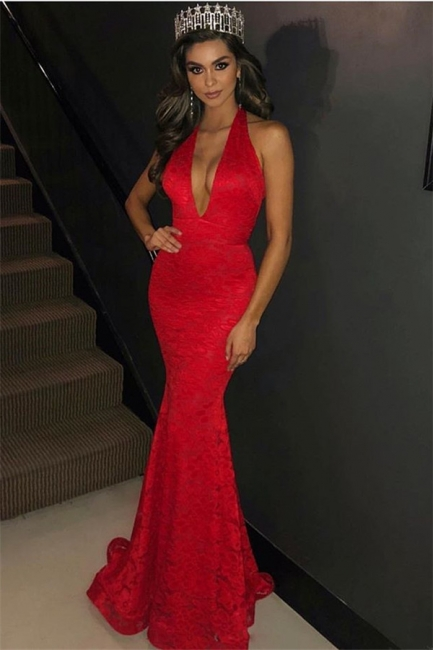 Charming Halter Summer Mermaid Fit and Flare Deep V-Neck Appliques Prom Dress UKes UK
