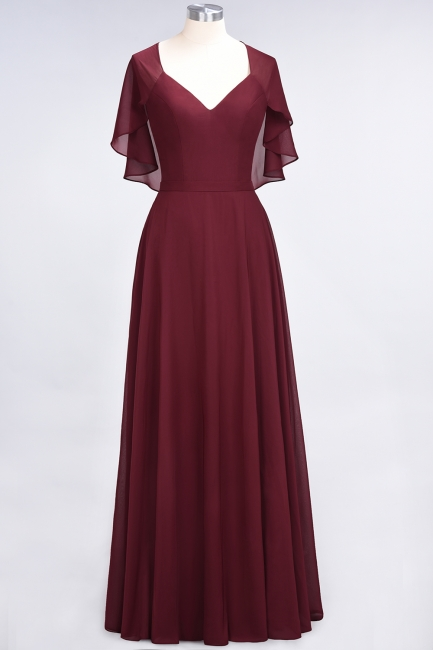 Charming V-Neck Short Sleeves Long Bridesmaid Dress On Sale