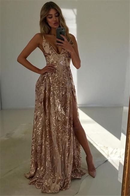 Stunning V-Neck Spaghetti Straps Front Split Fitted Sleeveless Floor-Length Exclusive Prom Dresses UK | New Styles