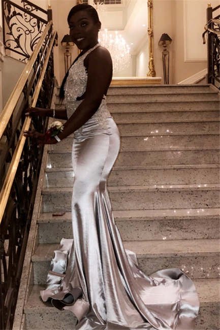 New Arrival Halter V-Neck Prom Dresses Sleeveless Mermaid Evening Gowns