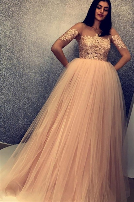 New Arrival Scoop Short Sleeves Appliques Tulle Fitted Floor-Length Exclusive Prom Dresses UK   New Styles