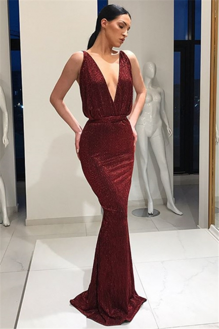 Beautiful Deep V-Neck Sleeveless Prom Dresses Lace-up Mermaid Evening Party Gowns