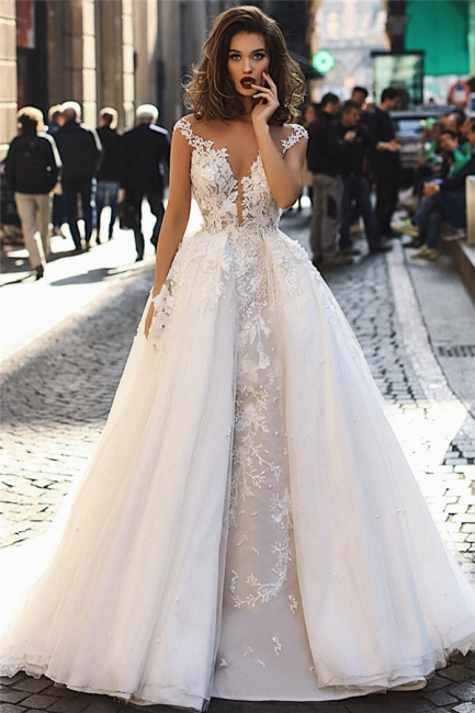 Glamorous Ball Gown Tulle Cap-Sleeves V-Neck Appliques Wedding Dresses | Bridal Gowns On Sale