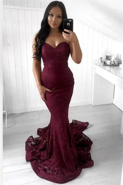 Stunning Sleeveless Strapless Evening Dress Mermaid Long Prom Gown With Lace Appliques