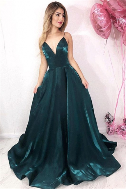 Chic V-Neck Spaghetti Straps Fitted Sleeveless Floor-Length Exclusive Prom Dresses UK | New Styles