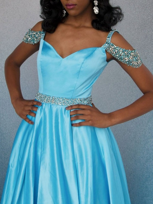 New Arrival Off-the-Shoulder Fitted Rhinestones Lace Floor-Length Exclusive Prom Dresses UK | New Styles