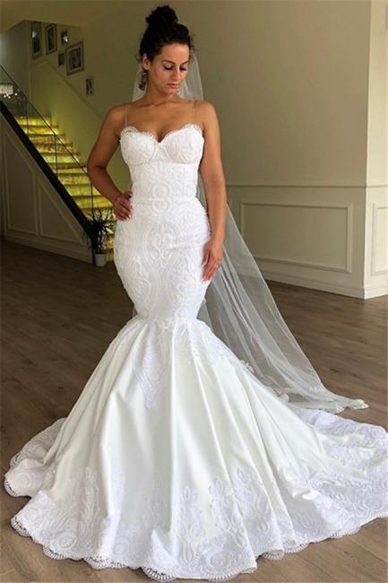 Gorgeous Mermaid Spaghetti Straps Long Wedding Dress Sleeveless Lace | Bridal Gowns Online