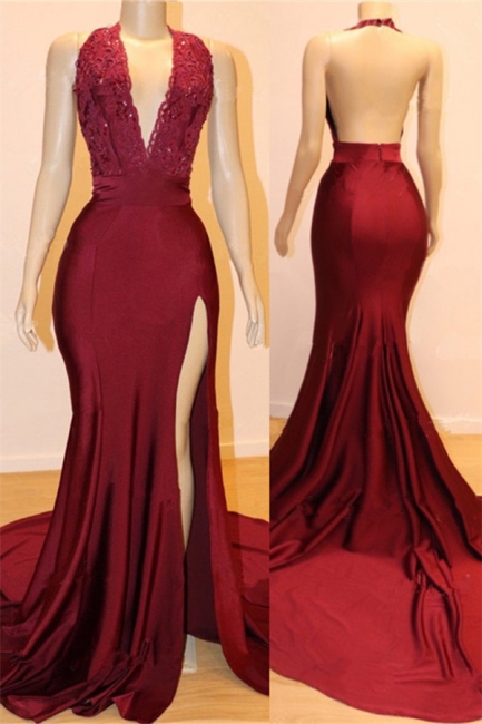 Flirty Sexy Backless Open Back Burgundy Fitted Exclusive Prom Dresses UK with Slit