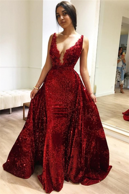 Burgundy fitted Fitted Sleeveless Shining Sequins Elegant Evening Dresses Online | New Styles