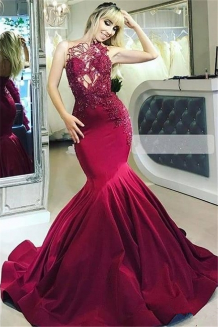Burgundy fitted Gorgeous Sheer Straps Applique Mermaid Exclusive Prom Dresses UK   New Styles