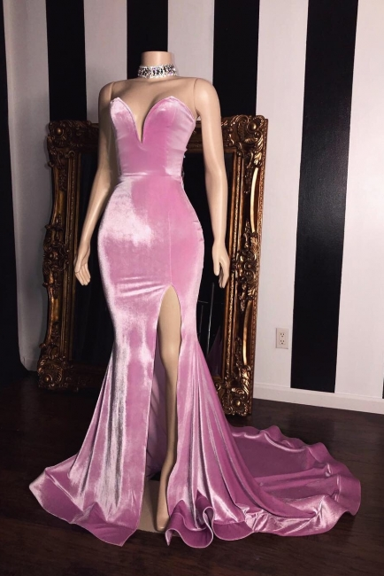 Pink Velvet Strapless Prom Dresses | Elegant Side Slit Trumpet Long Evening Gowns | Suzhou UK Online Shop