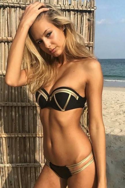 Shiny Black Bandage Bikini set with Shiny Gold Details