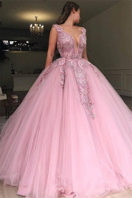 Elegant V-Neck Pink Prom Dress UK With Lace Applique Online