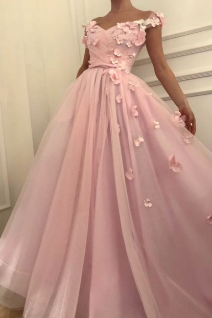 Pink Flowers Princess A-line Quality Tulle Long  Prom Dress | Elegant Off-the-Shoulder Evening Gowns | Suzhou UK Online Shop