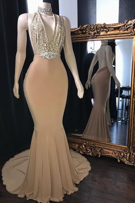 Champagne Crystal Halter Trumpet Long Prom Dresses | Sexy Low Cut Summer Sleeveless Evening Gowns | Suzhou UK Online Shop