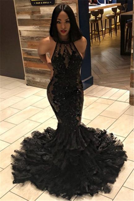 Elegant Unique Black Mermaid Halter Sleeveless Open Back Applique Exclusive Prom Dresses UK | New Styles