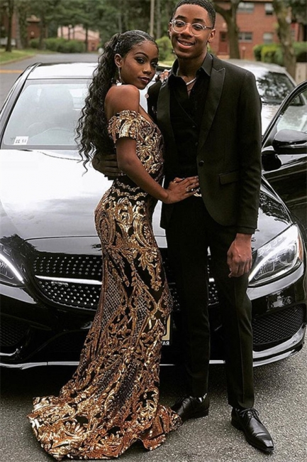 Glamourous Sheath Off The Shoulder Shining Gold Applique Exclusive Prom Dresses UK   New Styles