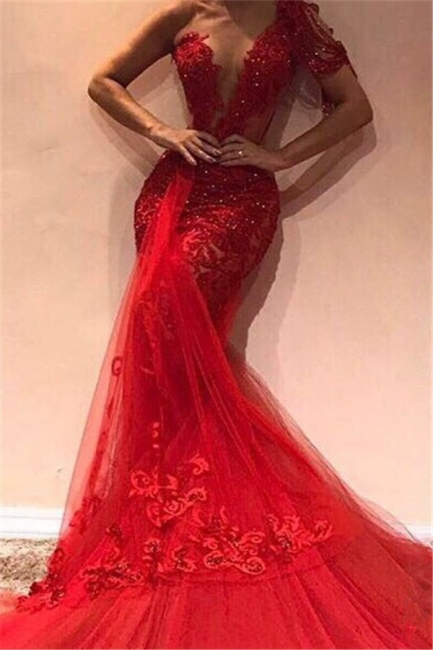 Gorgeous Mermaid One Shoulder Tulle Appliques Exclusive Prom Dresses UK   New Styles