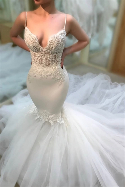 Glamorous Appliques Sleeveless Lace Tulle Wedding Dresses Spaghetti-Straps Mermaid Bridal Gowns On Sale