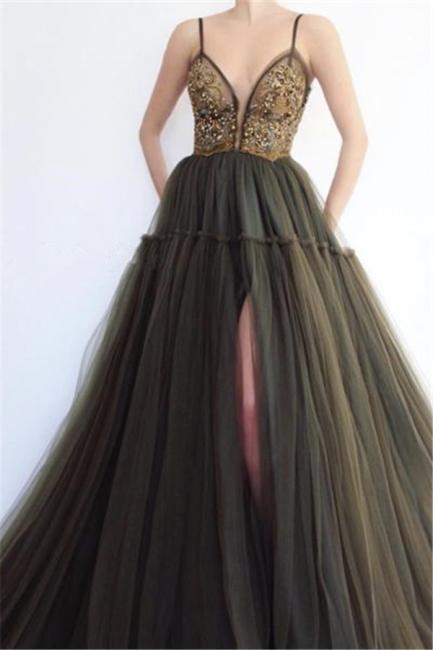 Elegant Side Slit Spaghetti Straps Tulle Evening Dresses Online   New Styles