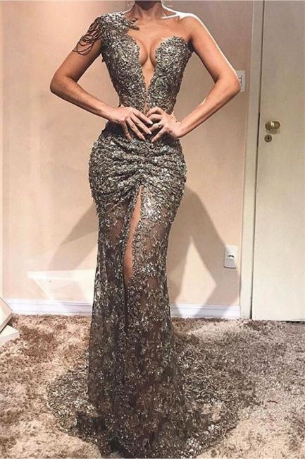 Elegant Sheath One-Shoulder Appliques Front Split Rinestone Exclusive Prom Dresses UK | New Styles
