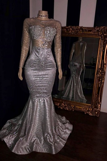 Elegant Appliques Sheer Quality Tulle Prom Dresses | Sliver Long Sleeves Trumpet Evening Gowns | Suzhou UK Online Shop