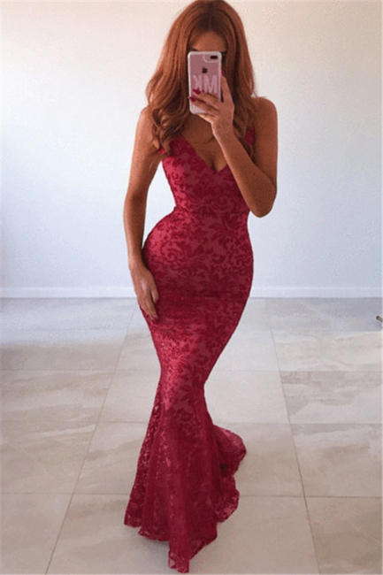New Arrival V-Neck Lace Open Back Mermaid Exclusive Prom Dresses UK | New Styles