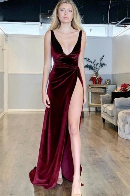 Fabulous Burgundy V-Neck Sleeveless Prom Dress Velvet With Side Slit