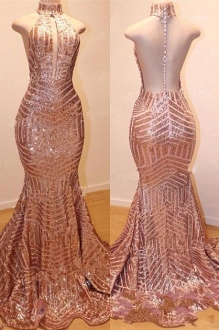 Shiny High Neck Summer Sleeveless Sequins Trumpet Prom Dresses | Suzhou UK Online Shop