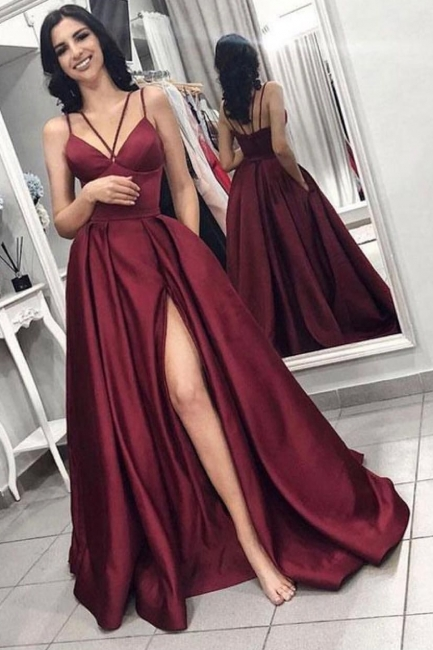 Sexy Summer Sleeveless Front Split Prom Gown | Wine Red Spaghetti-Straps Princess A-line Evening Dress | Suzhou UK Online Shop
