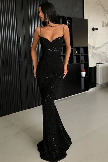 Unique Black Spaghetti Straps Prom Dress Open Back Sequins UK Formal Wears