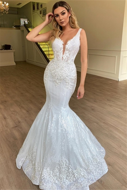 Glamorous Mermaid Sheer Straps Tulle Wedding Dress Sleeveless Appliques | Bridal Gowns Online