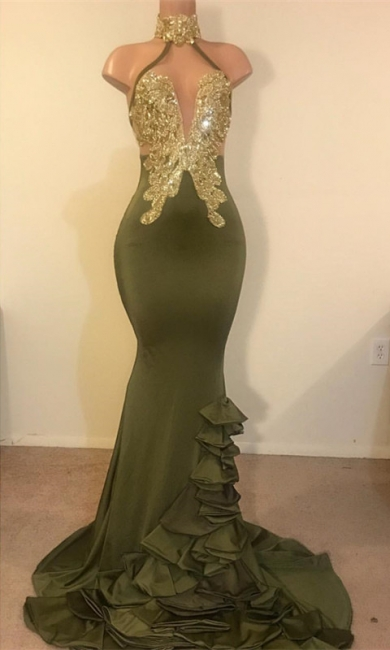 New Arrival High Neck Ruffles Prom Dresses UK Long Sequins Evening Party Gowns