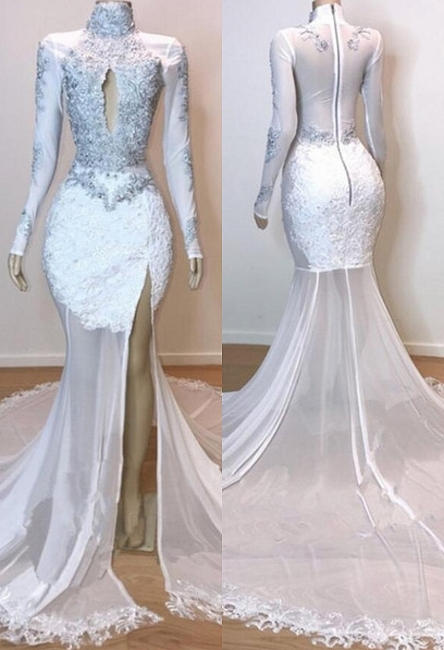White Stunning Lace Long Sleeves Prom Dresses | Sheer Quality Tulle Slit Trumpet Evening Gowns | Suzhou UK Online Shop