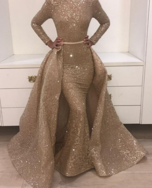Shining Sequins Prom Dresses Long Evening Gowns with Belt