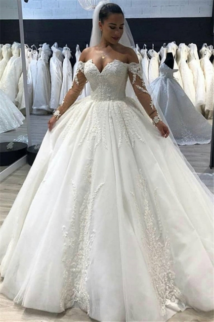 Affordable Tulle Sweetheart Long Sleeves Long Wedding Dress | Bridal Gowns Online