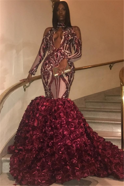 Flirty Burgundy fitted High Neck Sleeved Flower Applique Mermaid Exclusive Prom Dresses UK | New Styles