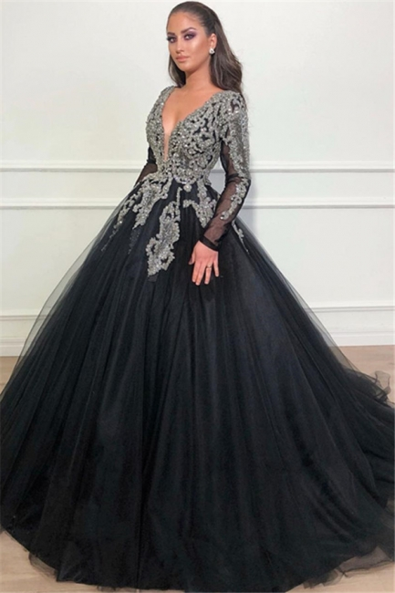 Unique Black Puffy Deep V-Neck Sleeved Appliques Overskirt Evening Dresses Online | New Styles