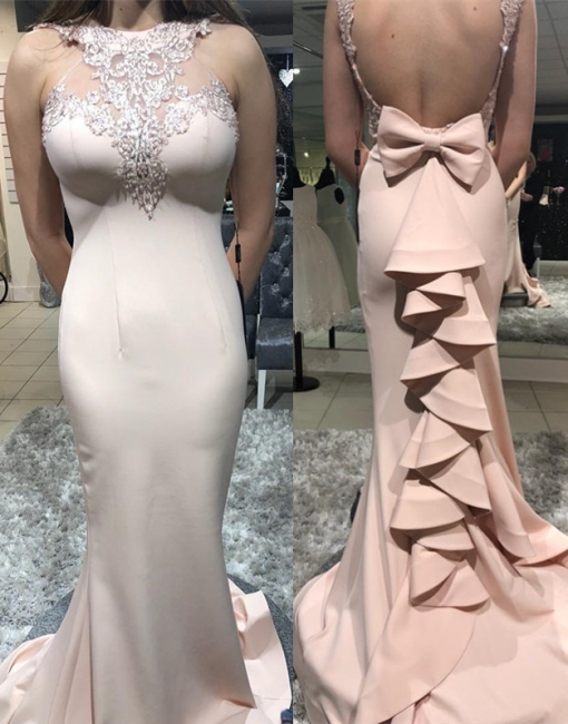 Gorgeous Sheath Sheer Straps Bowknot Ruffles Mermaid Prom Dersses | New Styles