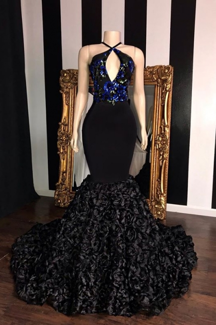 Black Summer Sleeveless Flowers Trumpet Prom Dresses | Elegant Halter Sequins Appliques Evening Gowns | Suzhou UK Online Shop
