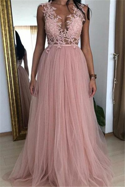 Elegant Pink Fitted Sleeveless Tulle Applique Exclusive Prom Dresses UK | New Styles