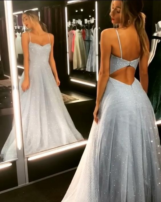 Sparkly Trendy Backless Dress Quality Tulle Floor Length Prom Dresses |  Long Evening Gowns on Sale | Suzhou UK Online Shop