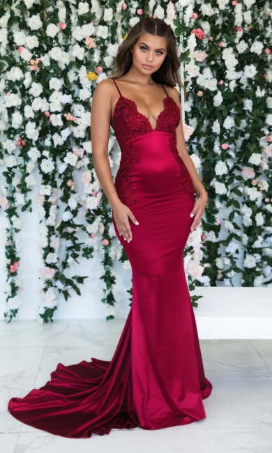 Wine Red Summer Sleeveless Trumpet Trendy Backless Prom Dresses | Cheap Spaghetti-Straps Lace Appliques Evening Gowns | Suzhou UK Online Shop