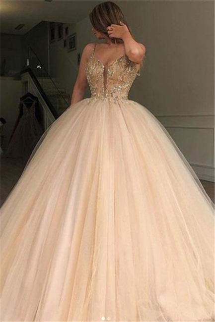 Beautiful Puffy Spaghetti Straps Beaded Exclusive Prom Dresses UK | New Styles