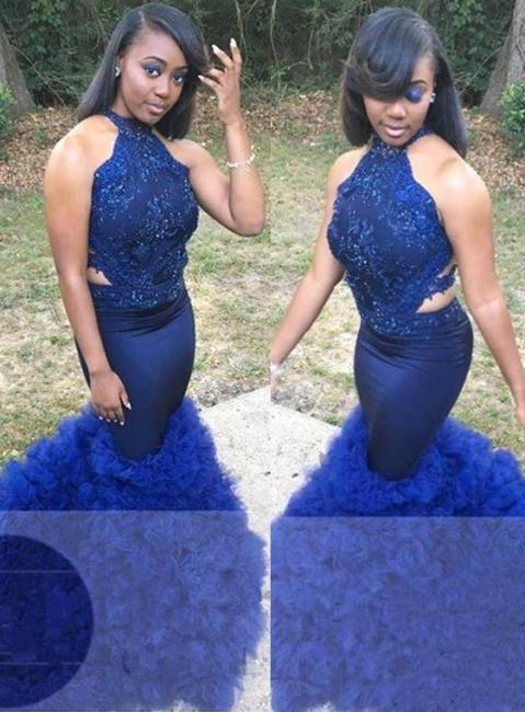 Royal Blue Halter Summer Sleeveless Prom Gown | Sexy Flower Appliques Trumpet Evening Dress | Suzhou UK Online Shop