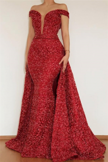 Burgundy fitted Beautiful Mermaid Off The Shoulder Lace Appliques prom dress SaleWith Detachable Skirt | New Styles