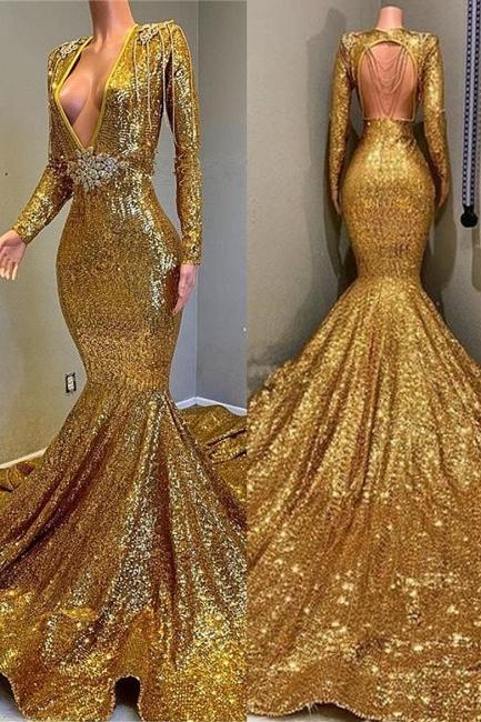 Glamour Trumpet Sequins Long Sleeves Floor Length Prom Dresses | Suzhou UK Online Shop