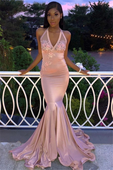 Gorgeous Pink Halter V-Neck Sleeveless Flower Appliques Exclusive Prom Dresses UK | New Styles