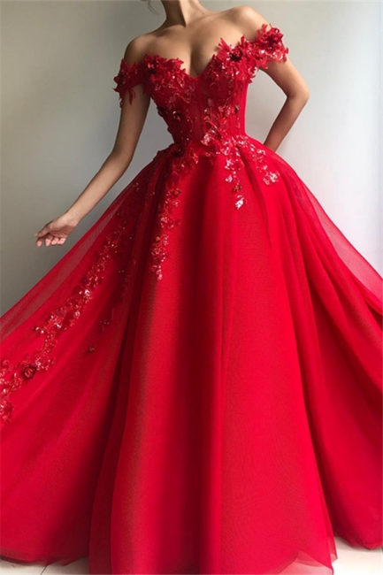 Beautiful Puffy Off The Shoulder Applique Flowers Evening Dresses Online | New Styles
